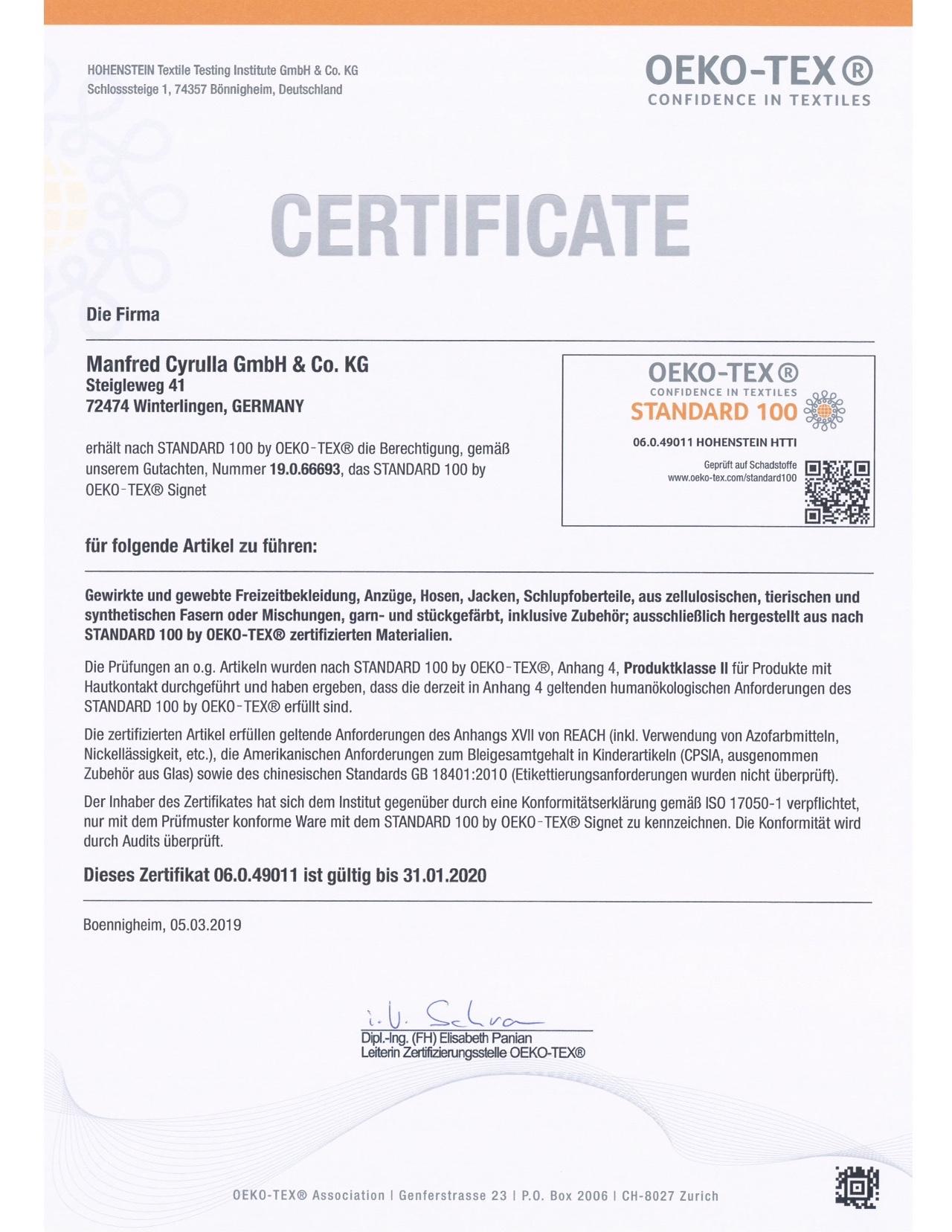 Mehr erfahren über Öko-Tex Standard 100